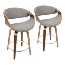 See Details - Curvini 24'' Counter Stool - Set Of 2 - Walnut Wood, Light Grey Fabric, Chrome