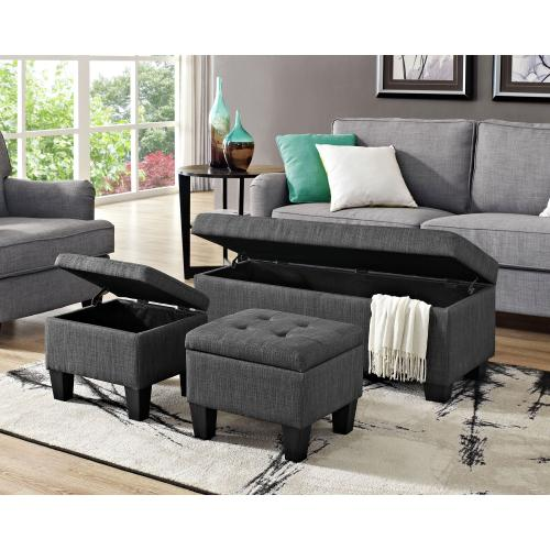 Ethan 3PK Storage Ottoman in Charcoal
