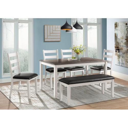 Martin White Dining Set - Table, Bench, and 4 Side Chairs