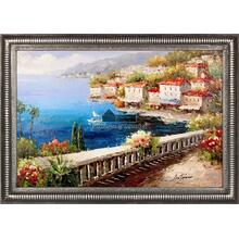 Oceanfront Terrace Framed Hand Painted Art, Oil on Canvas