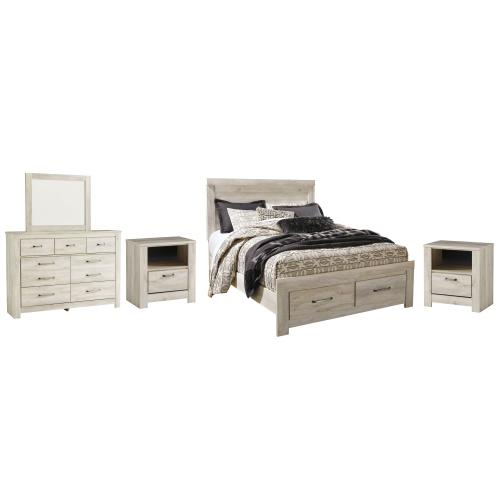 Queen Platform Bed With 2 Storage Drawers With Mirrored Dresser and 2 Nightstands