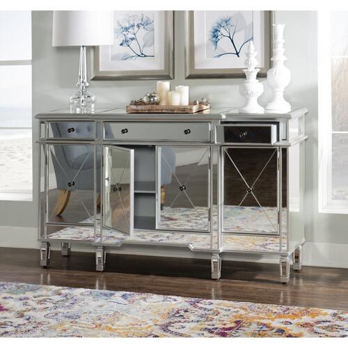 3-drawer and 4-door Mirrored Console, Silver
