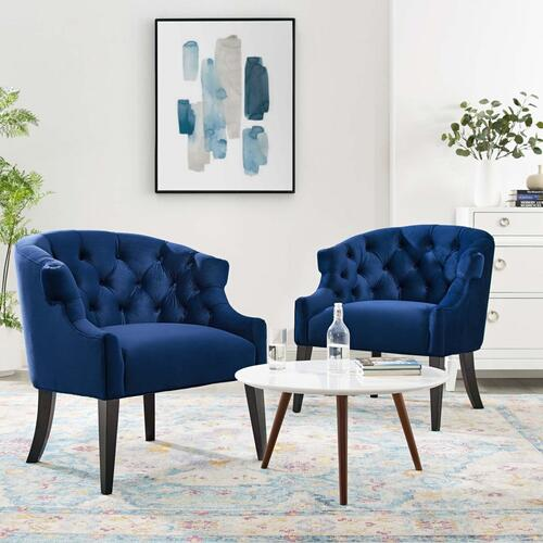 Precept Armchair Performance Velvet Set of 2 in Navy
