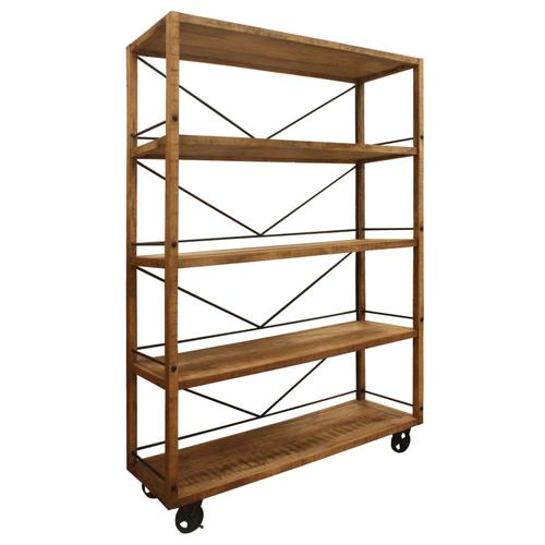Winslow Mango and Metal Wheeled Bookshelf