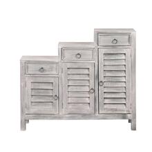 CC-CAB1181LD-SW  Three Tiered Shutter Cabinet  Distressed Light Gray
