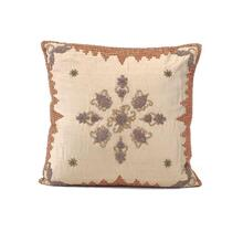 Taupe Silk Heavily Embroidered Pillow