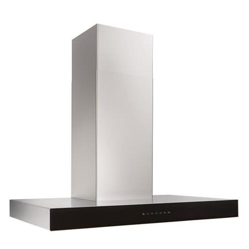 Ispira 36-in. 600 CFM Stainless Steel Chimney Range Hood with PURLED Light System and Black Glass
