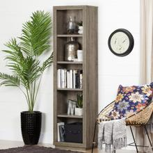 5-Shelf Narrow Bookcase - Weathered Oak