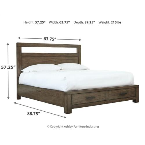 Deylin Queen Panel Bed With 2 Storage Drawers