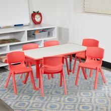 See Details - 23.625''W x 47.25''L Rectangular Red Plastic Height Adjustable Activity Table Set with 6 Chairs