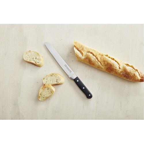 Classic Forged 8-Inch Triple Rivet Scalloped Bread Knife - Onyx Black