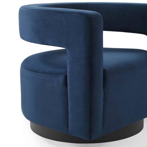 Modway - Spin Cutaway Performance Velvet Swivel Armchair in Midnight Blue