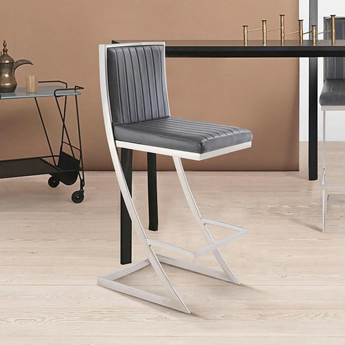 """Armen Living - Marc 26"""" Counter Height Barstool with Brushed Stainless Steel Finish and Vintage Grey Faux Leather"""