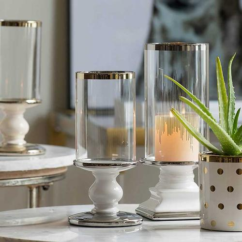 A & B Home - Candle Holder With Glass