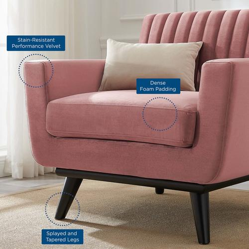 Modway - Engage Channel Tufted Performance Velvet Armchair in Dusty Rose