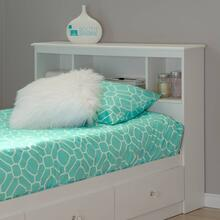 Bookcase Headboard with Storage - Pure White