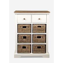 See Details - Simone White Cabinet with Two Drawers and Six Baskets