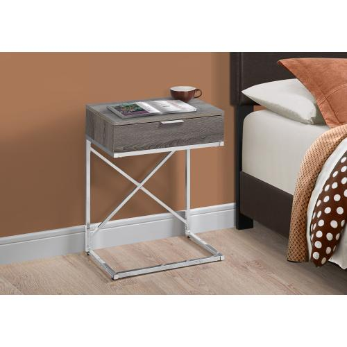 """Gallery - ACCENT TABLE - 24""""H / DARK TAUPE / CHROME METAL"""