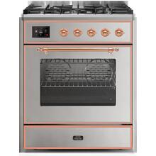 Majestic II 30 Inch Dual Fuel Liquid Propane Freestanding Range in Stainless Steel with Copper Trim