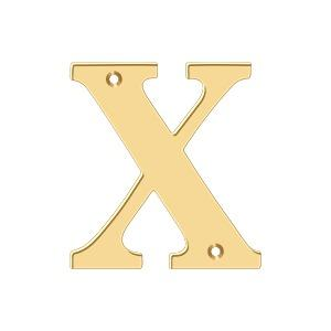 """Deltana - 4"""" Residential Letter X - PVD Polished Brass"""