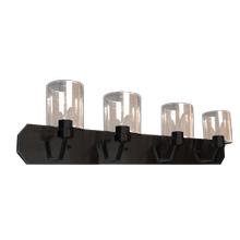 Paris 4-Light Vanity- Matte Black Finish- Clear Cylinder Glass
