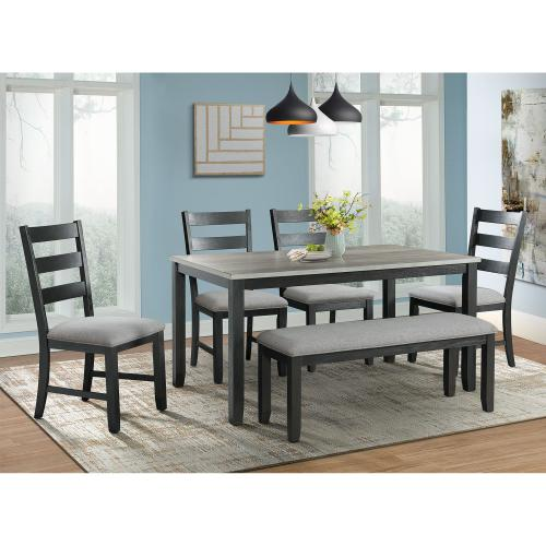 Martin Gray 6PC Dining Set-Table, Four Chairs & Bench
