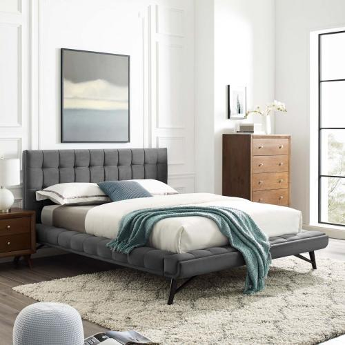 Julia Queen Biscuit Tufted Performance Velvet Platform Bed in Gray