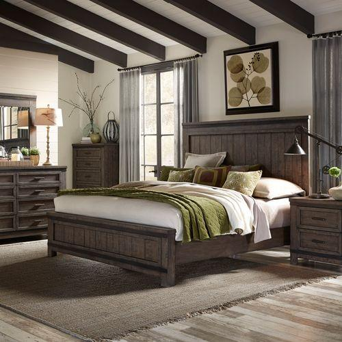 Liberty Furniture Industries - King California Panel Bed, Dresser & Mirror, Night Stand