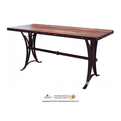 "Artisan Home Furniture - 24-30"" Adjustable Swivel Stool, wooden seat, straight leg, iron base"