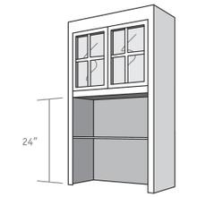 View Product - Desk Top Unit, 2 Glass Doors with Mullions, Open Shelves, and 2 adjustable shelves