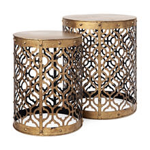 Rudebekia (Set of 2) 16L x 16W Gold Round Metal Accent Tables