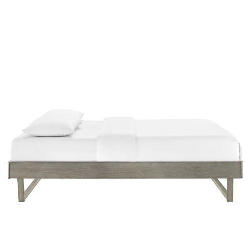 Modway - Billie King Wood Platform Bed Frame in Gray