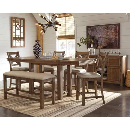 Counter Height Dining Table and 4 Barstools and Bench With Storage