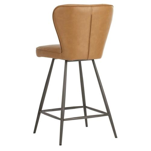 """Ashby 26"""" H Mid Century Modern Leather Tufted Swivel Counter Stool - Camel / Black"""