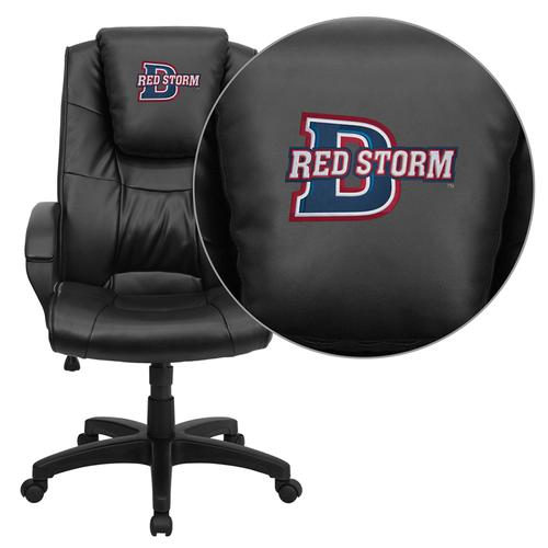 Dixie State College Red Storms Embroidered Black Leather Executive Office Chair