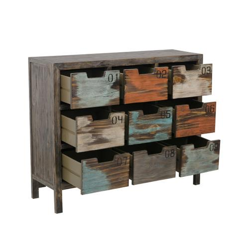 Wide 9 Drawer Apothecary Chest in Rustic Multicolor