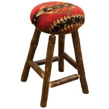 "Round Counter Stool - 24"" high - Natural Hickory - Upgrade Fabric"