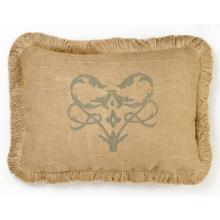 Blue Damask Burlap Pillow