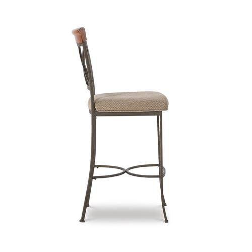 Upholstered Fabric Barstool, Matte Pewter and Bronze