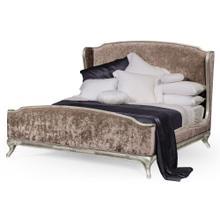 US Cali King Louis XV bed (Silver leaf/ Velvet truffle)