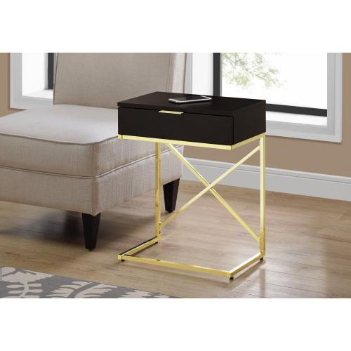"ACCENT TABLE - 24""H / ESPRESSO / GOLD METAL"