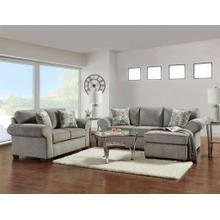 Marcey Nickel Fabric Sectional Sofa and Loveseat Set with Pillows
