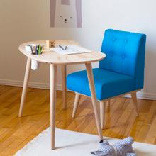 Sweedi - Solid Wood Kids Table with Upholstered Chair Set, Natural and Blue