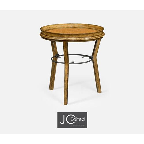 Round Light Brown Chestnut & Rattan Side Table