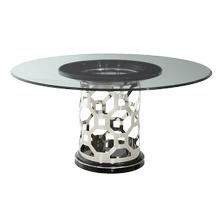 Titanium 60'' Round Glass Top Dining Table