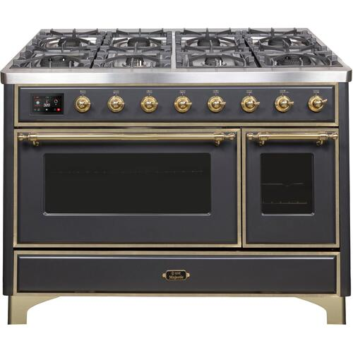 Majestic II 48 Inch Dual Fuel Natural Gas Freestanding Range in Matte Graphite with Brass Trim