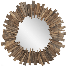 Upcycled Wood Slat Round Mirror (Each One Will Vary)