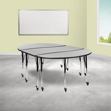 """See Details - 3 Piece Mobile 86"""" Oval Wave Flexible Grey Thermal Laminate Activity Table Set-Standard Height Adjustable Legs"""