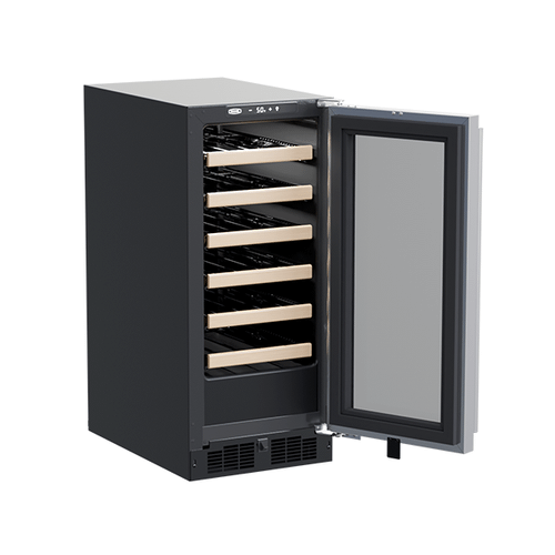Marvel - 15-In Built-In High-Efficiency Single Zone Wine Refrigerator with Door Style - Stainless Steel Frame Glass
