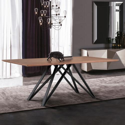 Armen Living - Armen Living Modena Contemporary Dining Table in Matte Black Finish and Walnut Wood Top